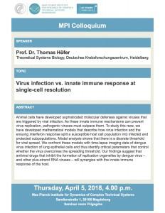 MPI Colloquium: Virus infection vs. innate immune response at single-cell resolution @ Max-Planck-Institut | Magdeburg | Sachsen-Anhalt | Germany