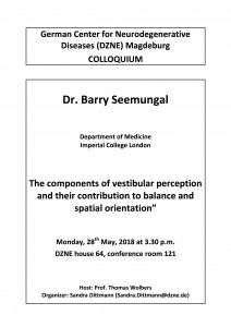 DZNE Colloquium: The components of vestibular perception and their contribution to balance and spatial orientation @ DZNE, House 64, conference room 121 | Magdeburg | Sachsen-Anhalt | Germany