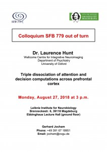 SFB779 Colloquium: Triple dissociation of attention and decision  computations across prefrontal cortex @ LIN, Ebbing hall | Magdeburg | Sachsen-Anhalt | Germany