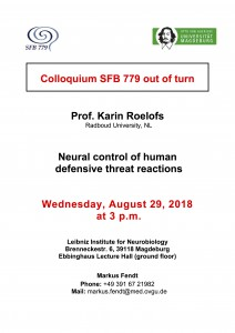 SFB779 Colloquium: Neural control of human defensive threat reactions @ LIN, Ebbing hall | Magdeburg | Sachsen-Anhalt | Germany