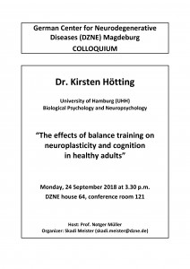 DZNE Colloquium: The effects of balance training on neuroplasticity and cognition in healthy adults @ DZNE house 64, conference room 121 | Magdeburg | Sachsen-Anhalt | Germany