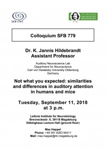 SFB779 Colloquium: Not what you expected: similarities and differences in auditory attention in humans and mice @ LIN, Ebbing hall | Magdeburg | Sachsen-Anhalt | Germany