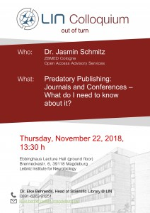 "LIN Colloquium: ""Predatory Publishing: Journals and Conferences – What do I need to know about it?"" @ LIN, Ebbing hall 