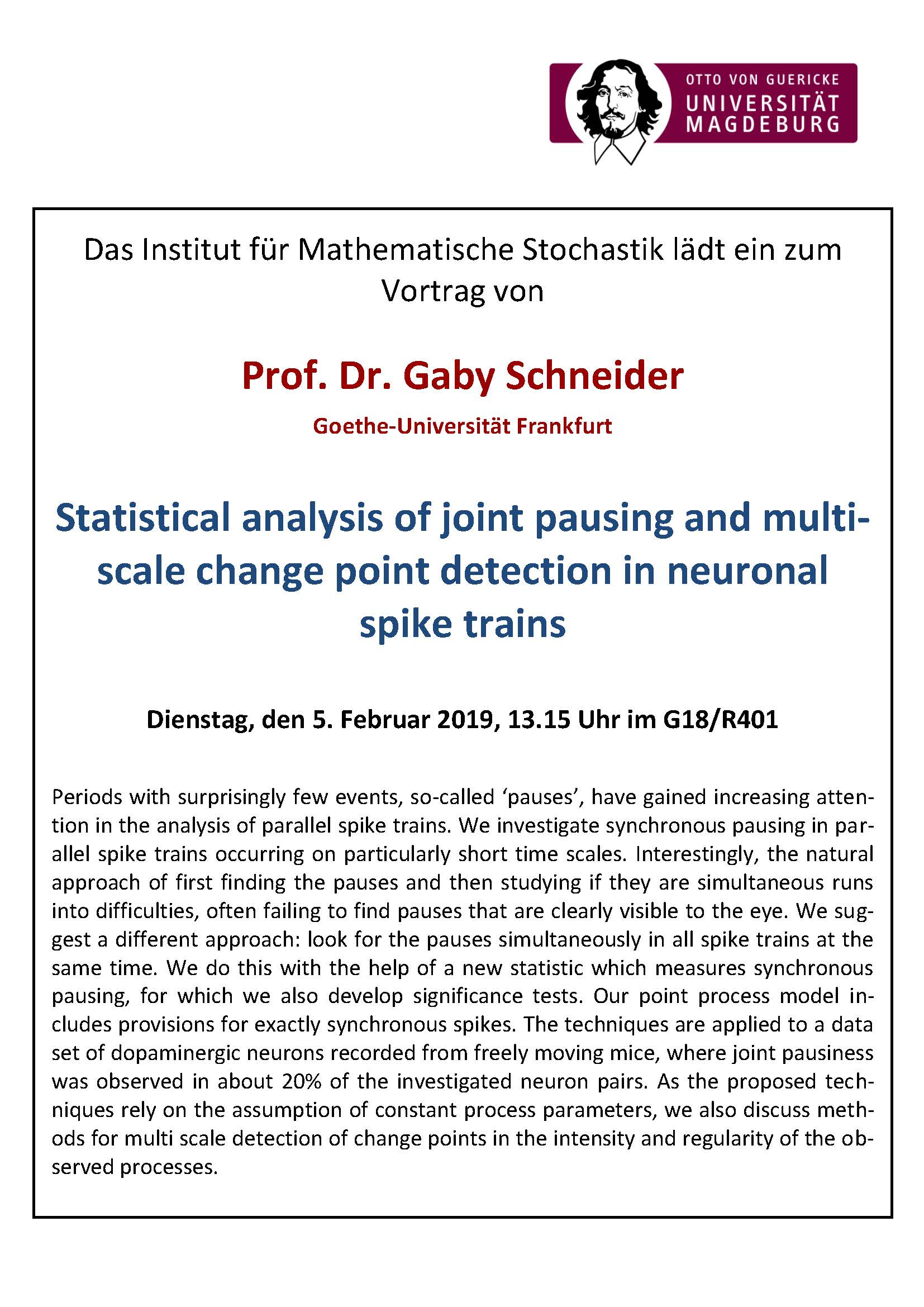 Statistic seminar: Statistical analysis of joint pausing and multi-scale change point detection in neuronal spike trains @ OVGU House 18, Room 401