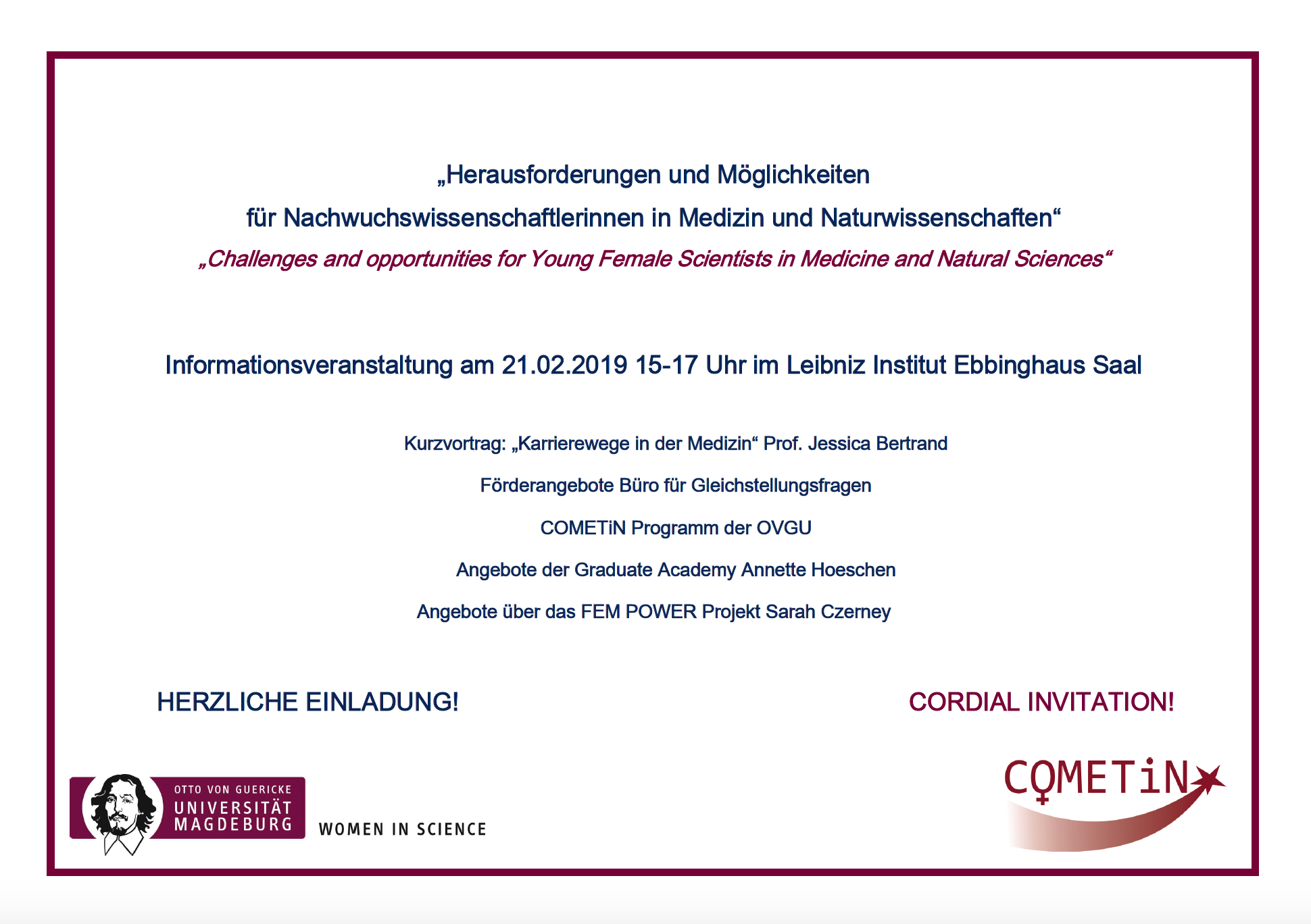 Women in Science: Challenges and opportunities for Young Female Scientists in Medicine and Natural Sciences @ Ebbinghaus Lecture Hall, Leibniz Institute for Neurobiology