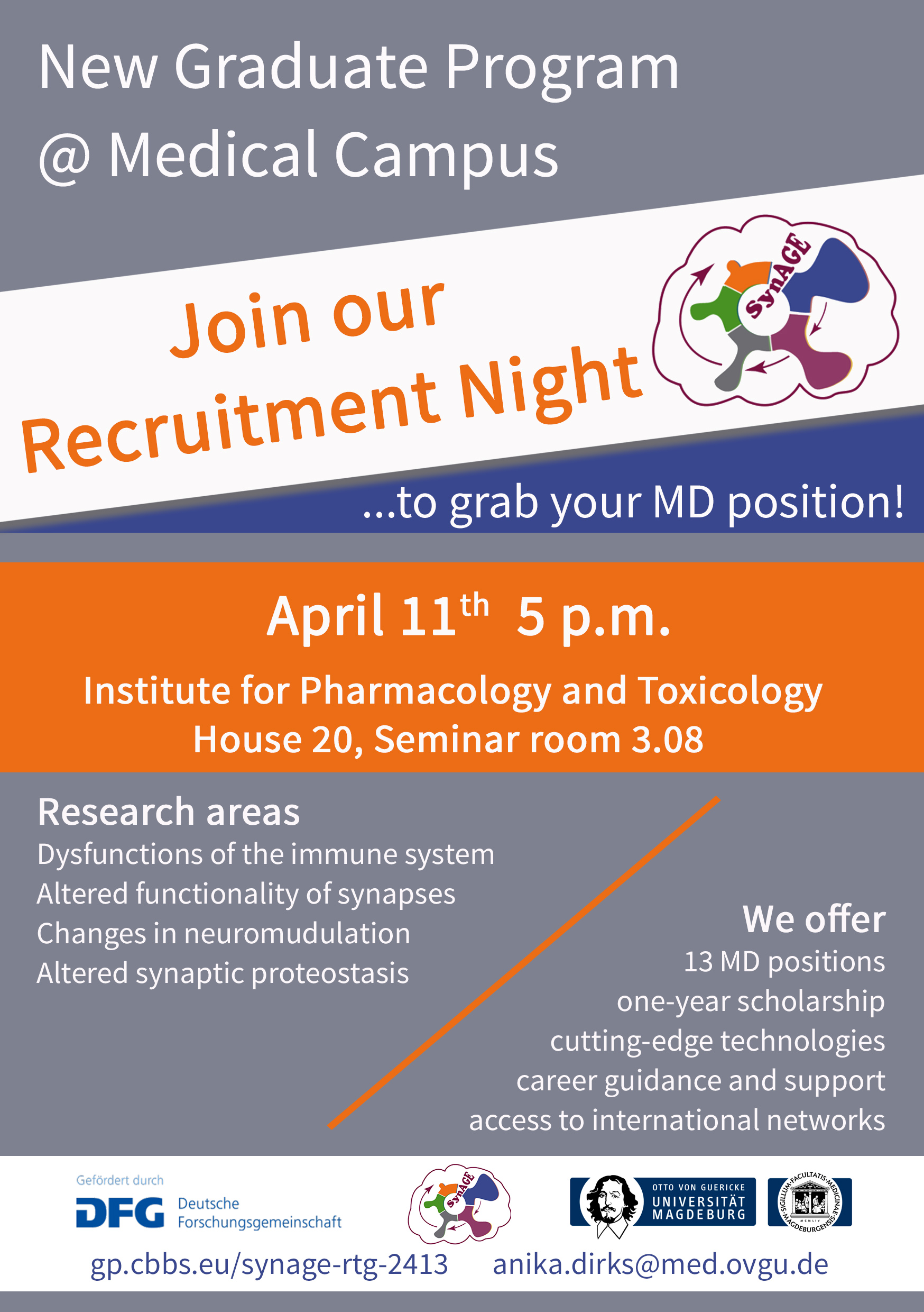 RTG 2413 Recruitment Event for MD students @ Institute for Pharmacology and Toxicology, House 20, Seminar room 3.08