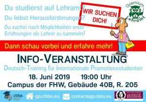 Info-Veranstaltung für Lehramtsstudenten @ Gebäude 40 B, Raum 205