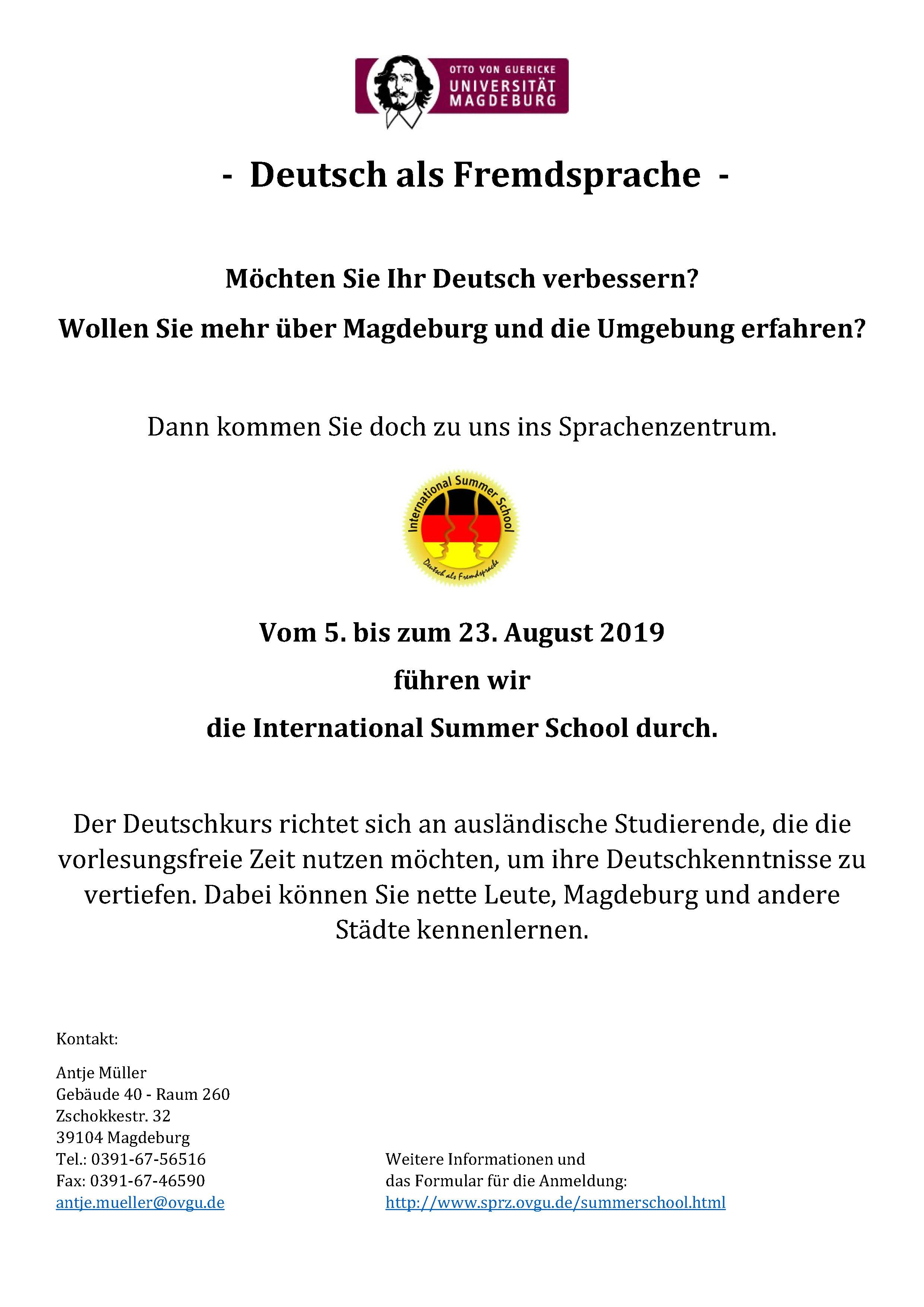 International German Summer School @ OVGU Language Center