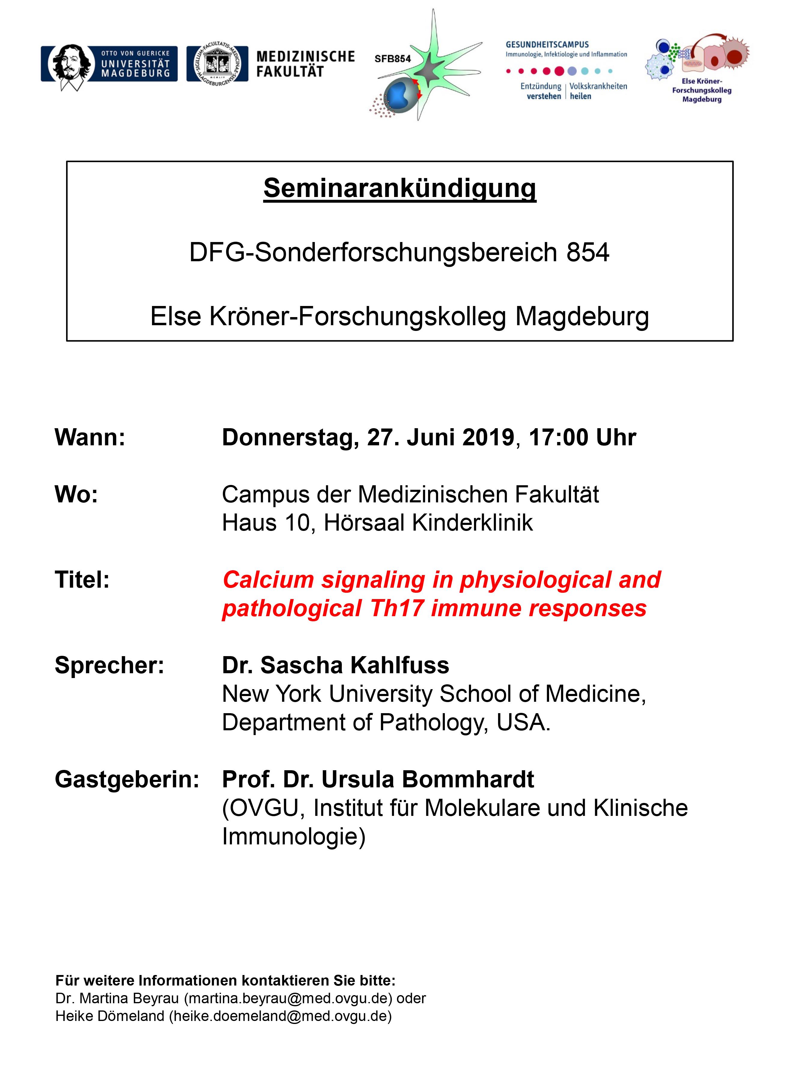 CRC 854 Seminar: Calcium signaling in physiological and pathological Th17 immune responses @ Campus der Medical Fakulty House 10, Hörsaal Kinderklinik