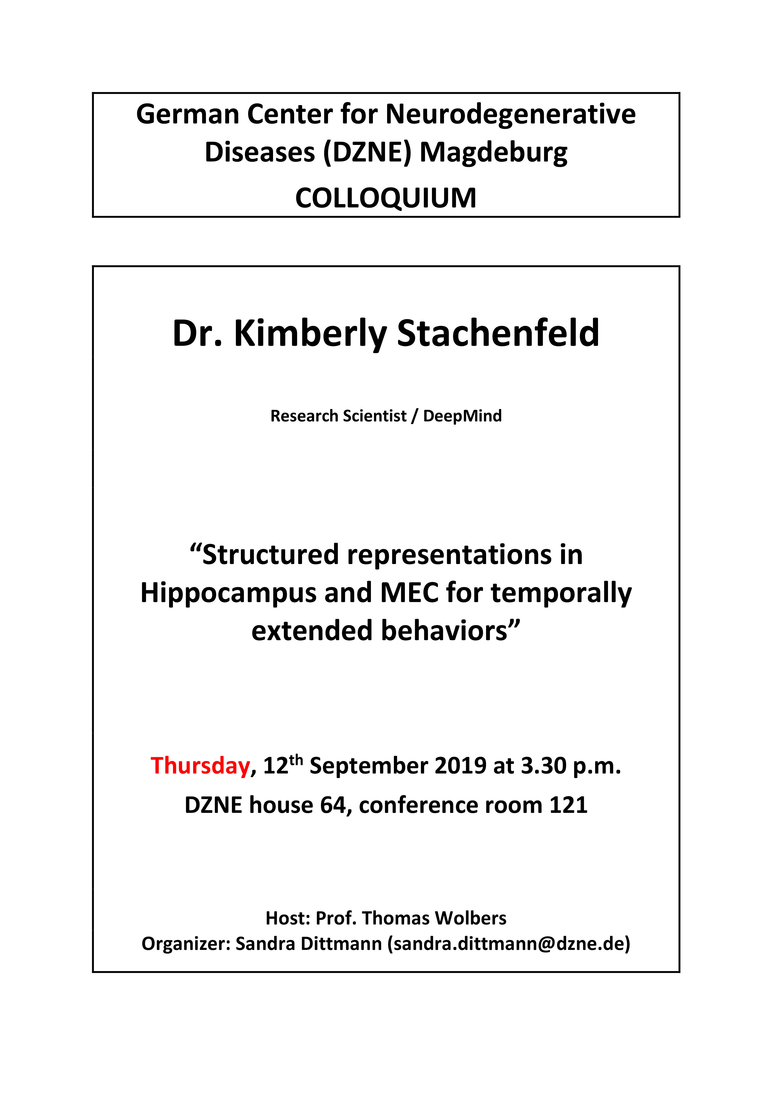 DZNE Colloquium: Structured representations in Hippocampus and MEC for temporally extended behaviors @ DZNE house 64, conference room 121