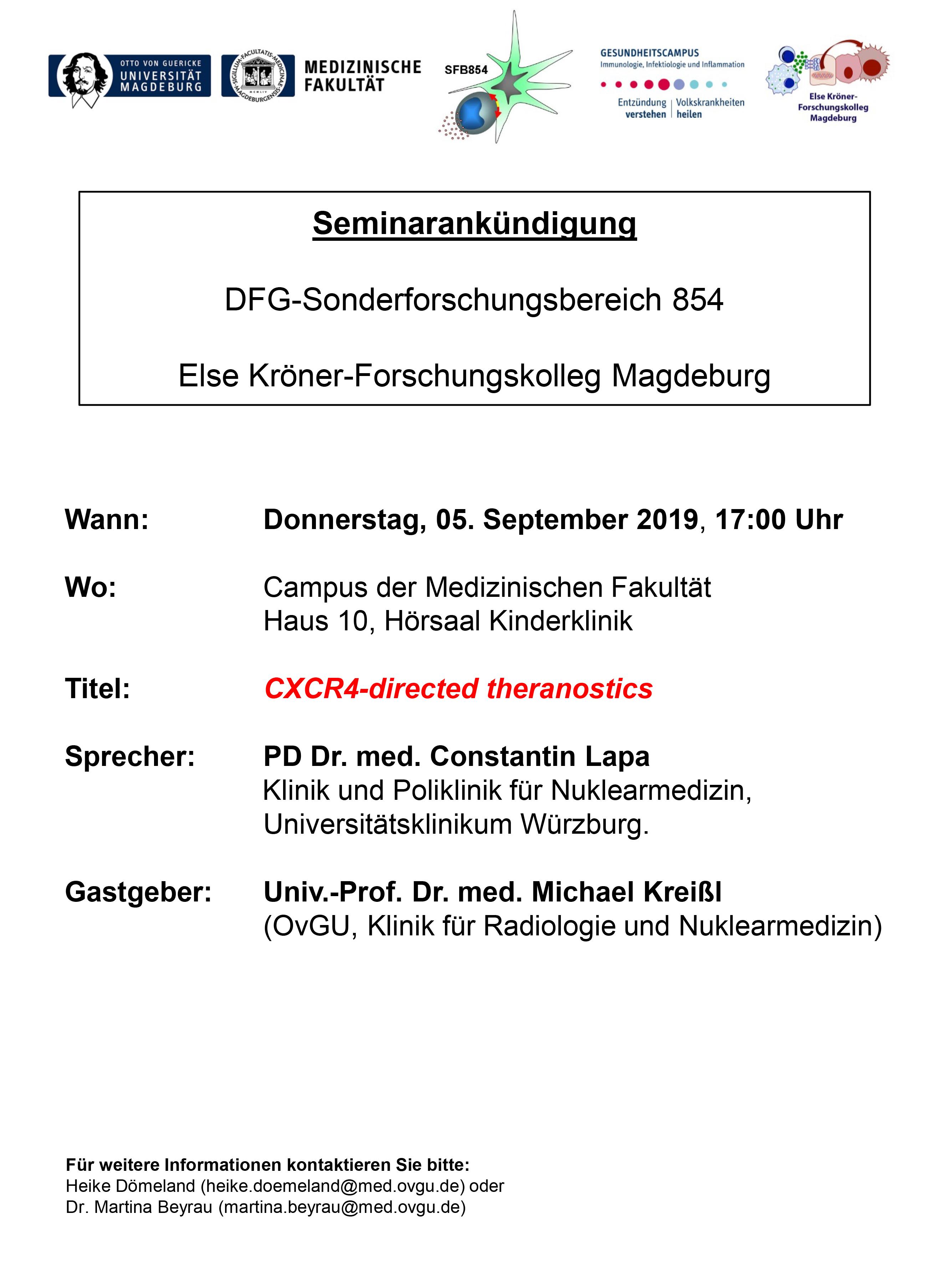 CRC 854 Seminar: CXCR4-directed theranostics @ Campus of the Medical Fakulty House 10, Hörsaal Kinderklinik