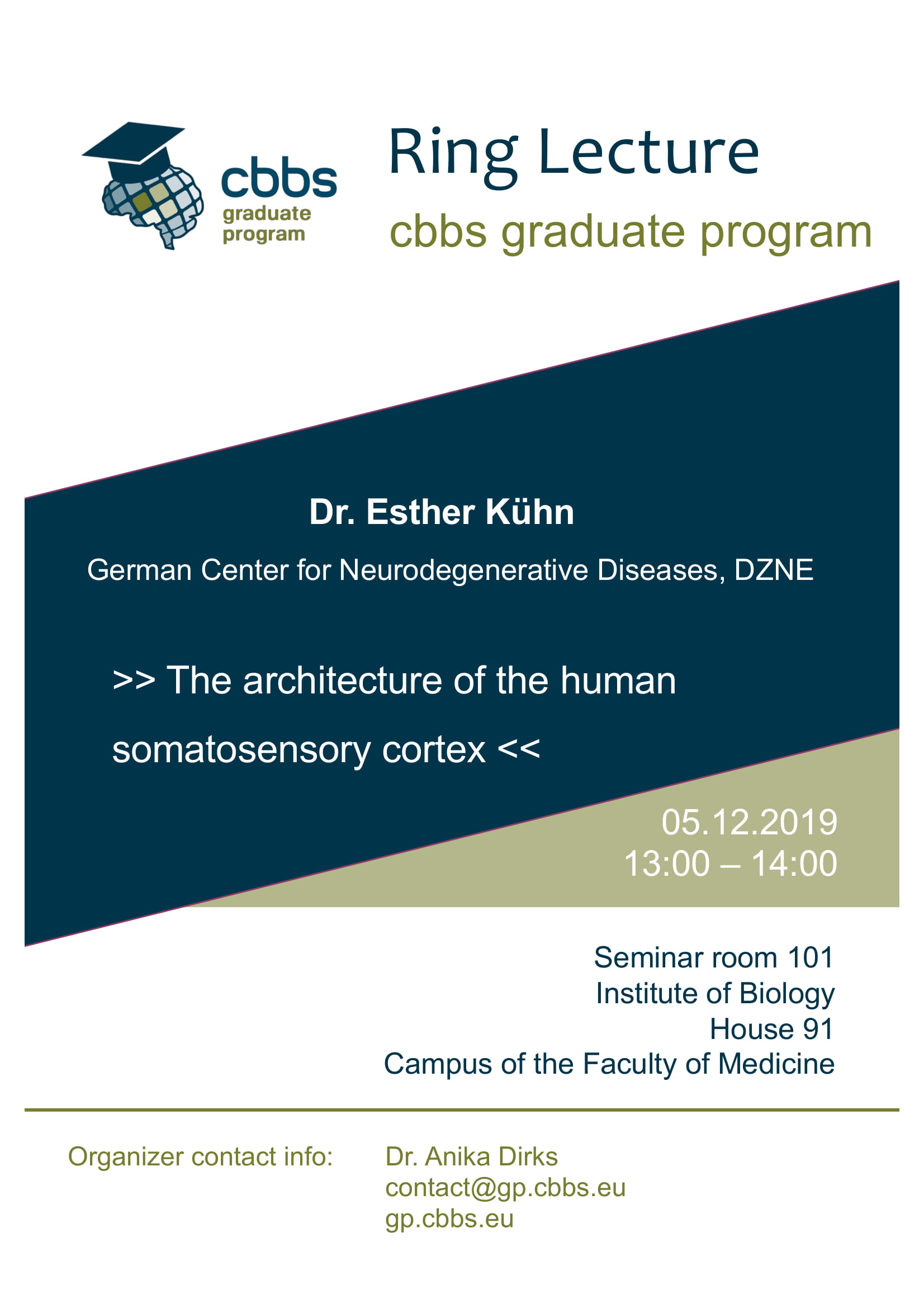CBBS GP Ringlecture: The architecture of the human somatosensory cortex @ Institute of Biology, House 91, Seminarroom 101