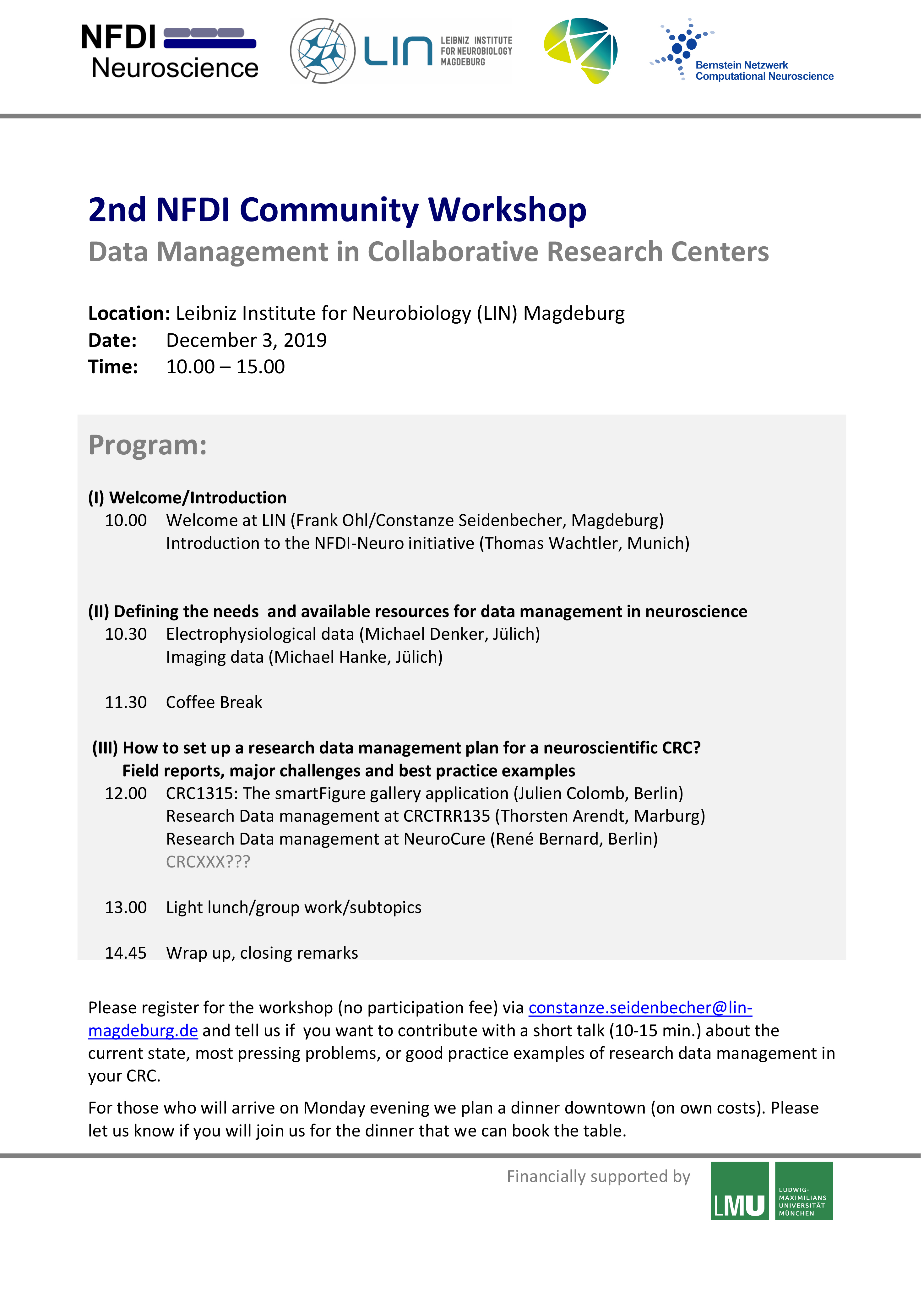 2nd NFDI Community Workshop (Data Management in CRCs) @ Ebbinghaus Lecture Hall, Leibniz Institute for Neurobiology