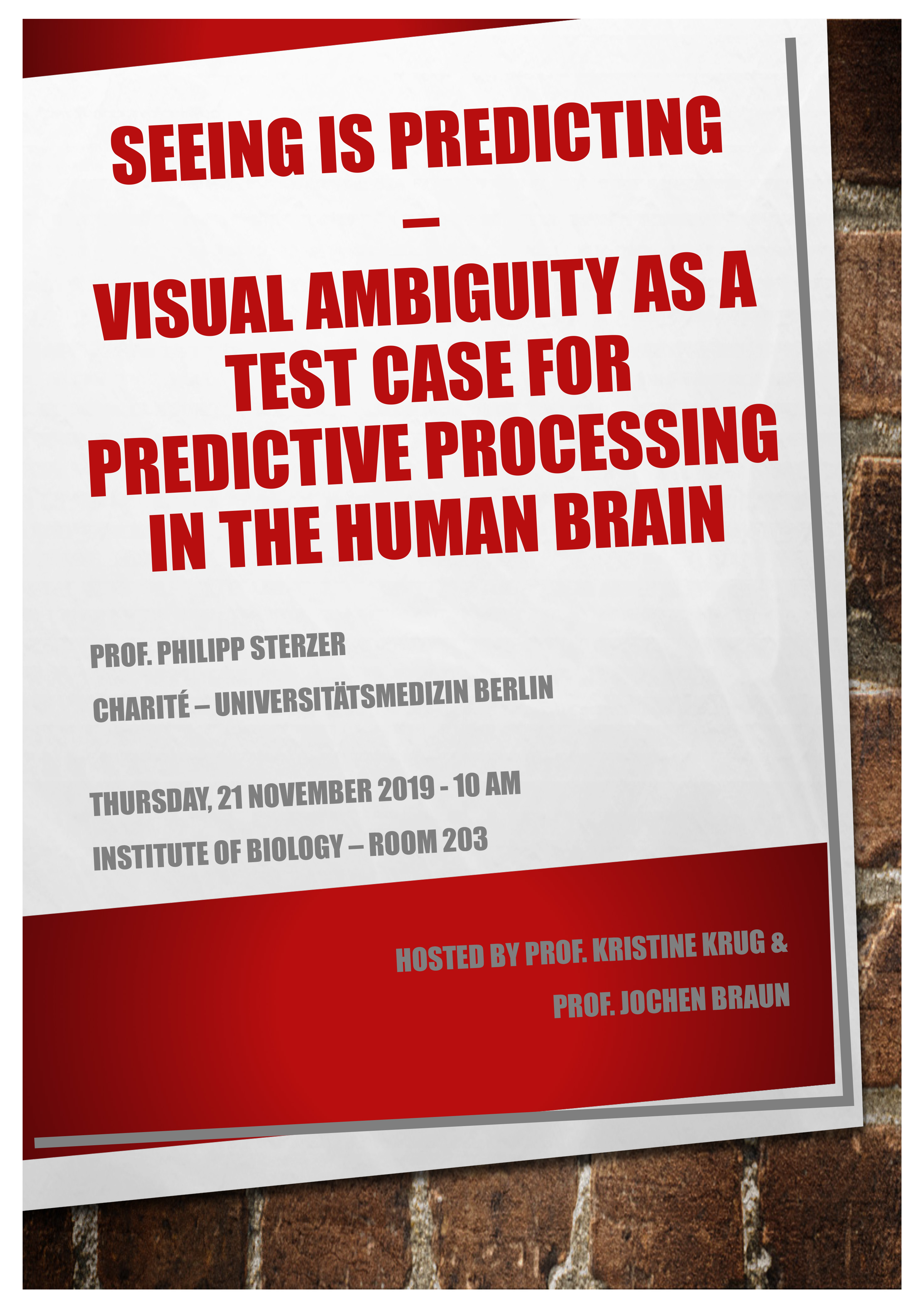 IBIO Talk: SEEING IS PREDICTING – VISUAL AMBIGUIT Y AS A TEST CASE FOR PREDICTIVE PROCESSING IN THE HUMAN BRAIN @ Institute of Biology/ Hs. 91, seminar room 203