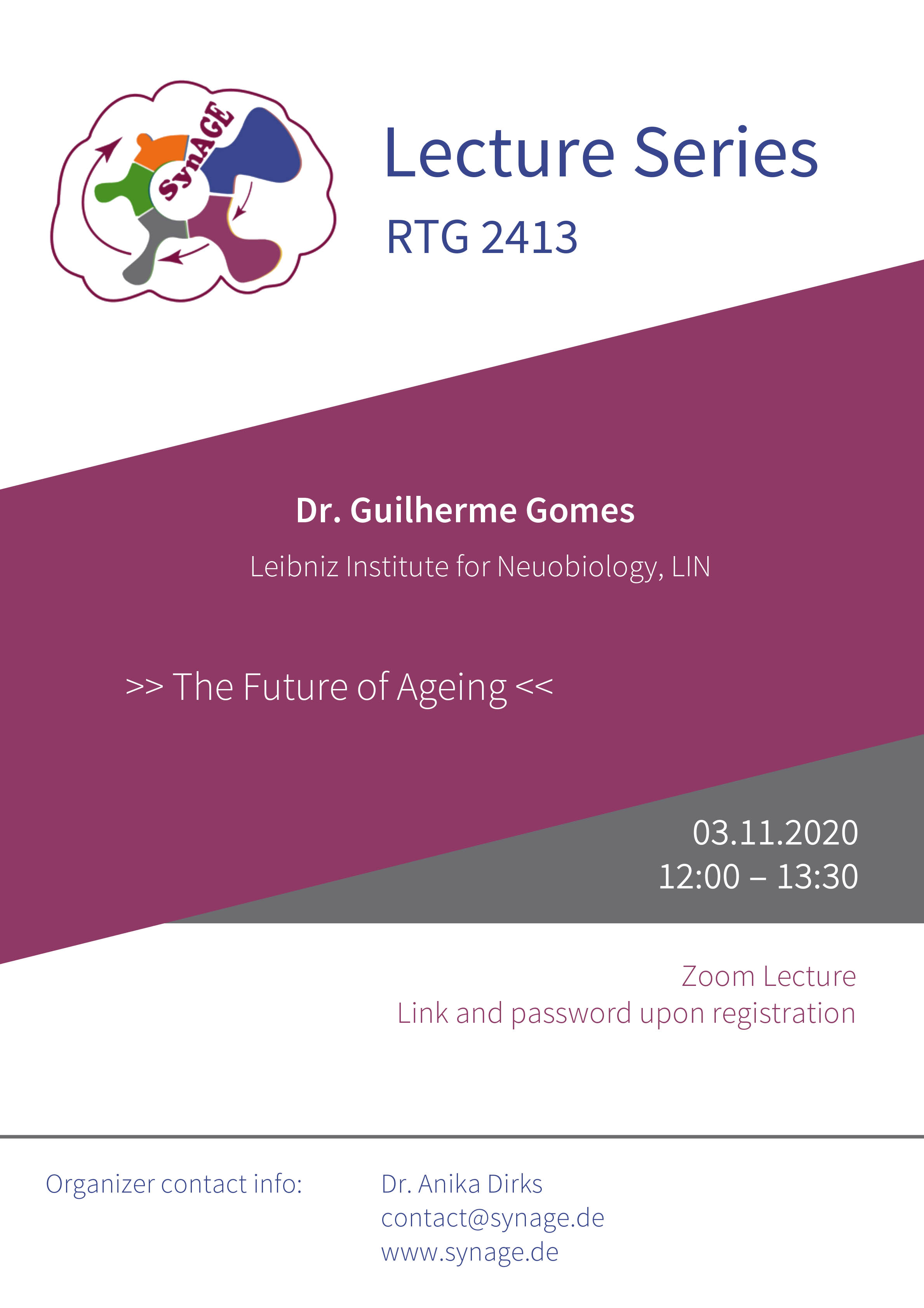RTG 2413 SynAGE Lecture: The Future of Aging @ Zoom