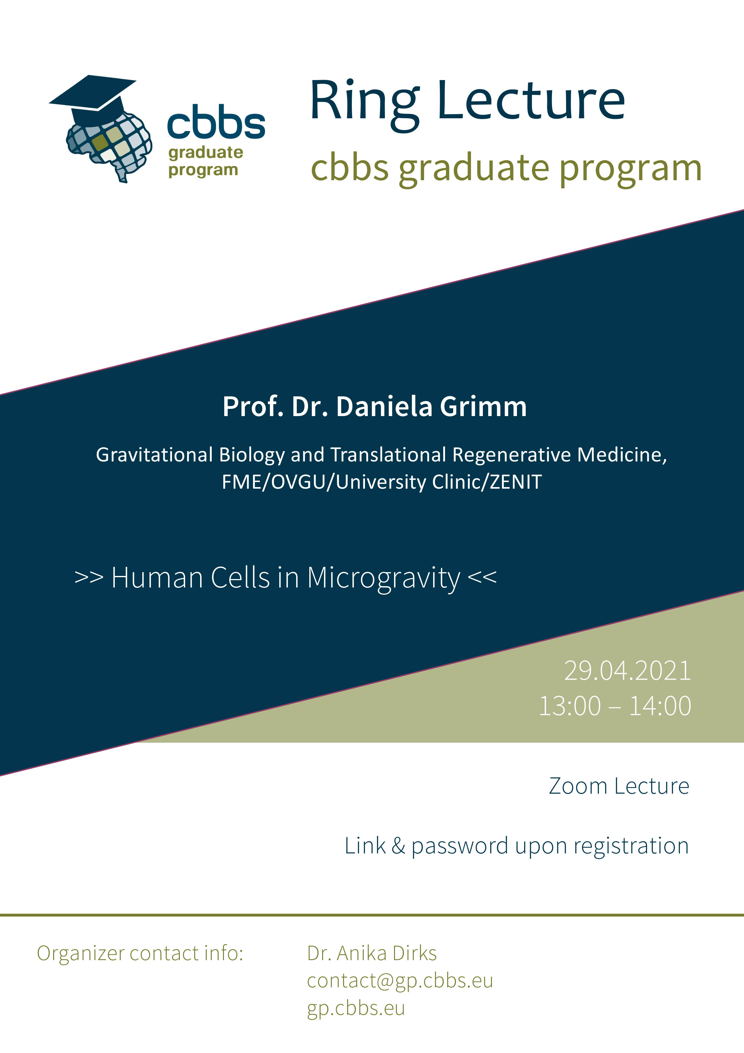 CBBS GP Ringlecture: Human Cells in Microgravity @ Zoom