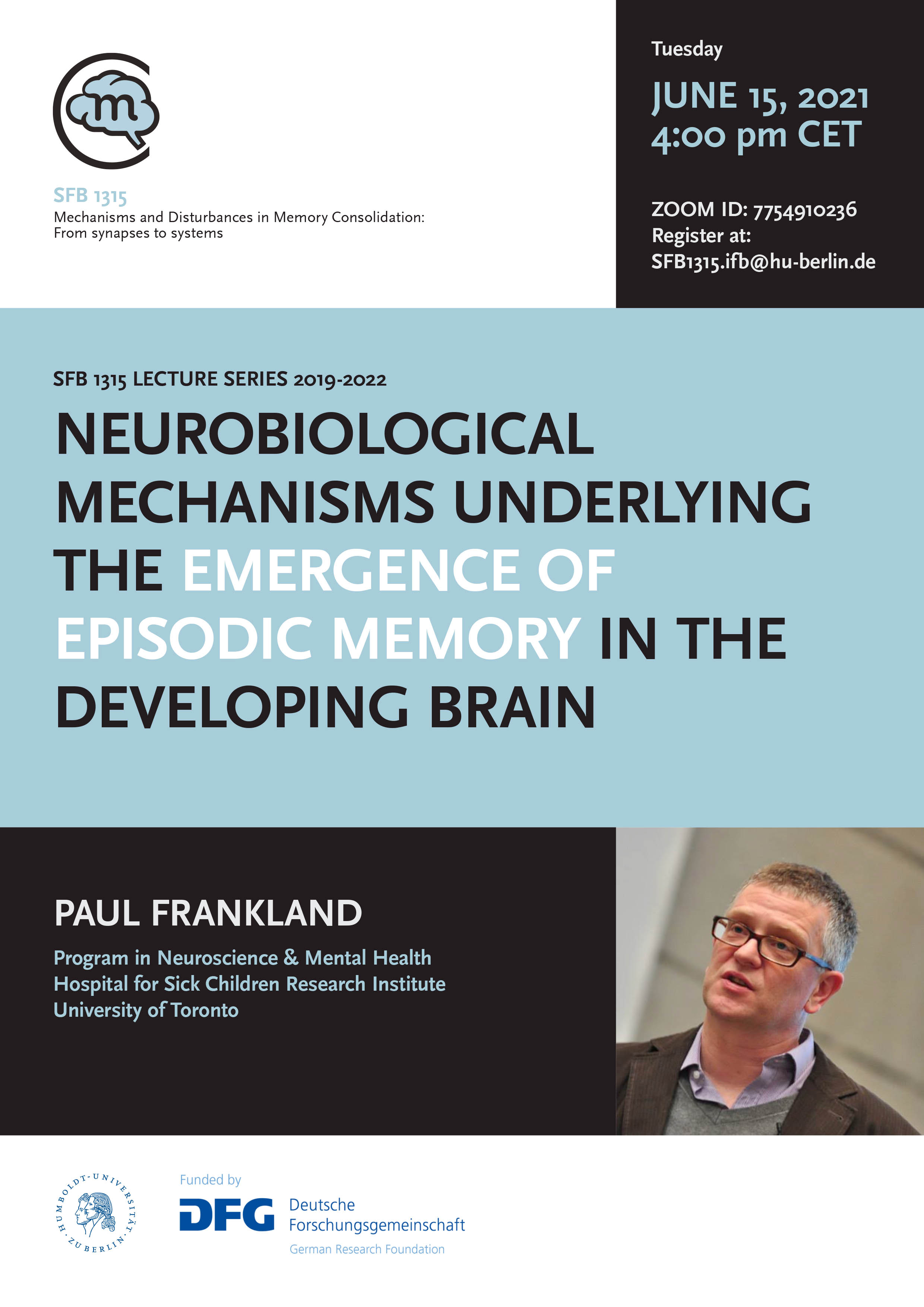 CRC 1315 Lecture: Neurobiological mechanisms underlying the emergence of episodic memory in the developing brain @ Zoom