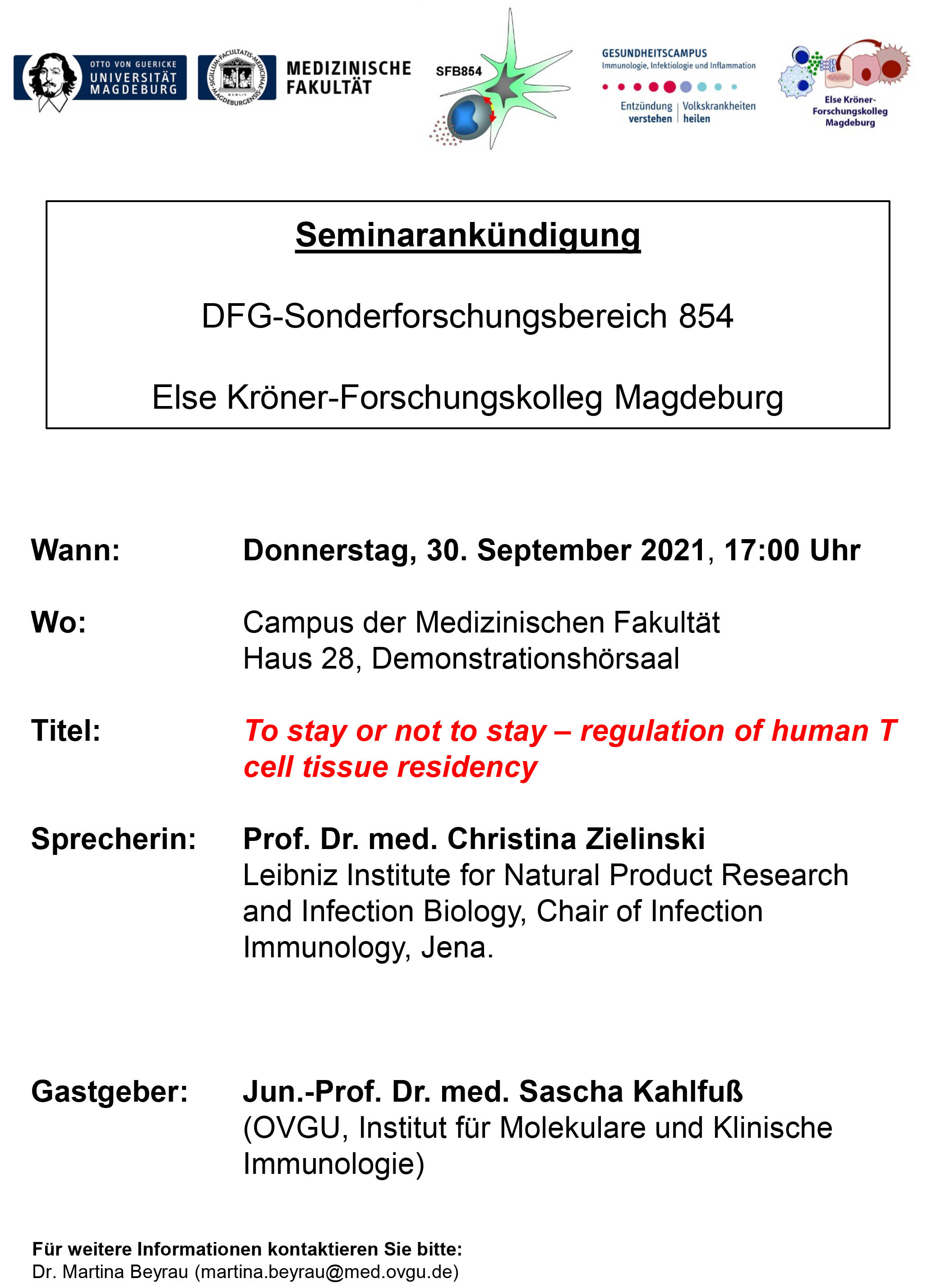 CRC 854 Seminar: To stay or not to stay – regulation of human T cell tissue residency @ Zoom