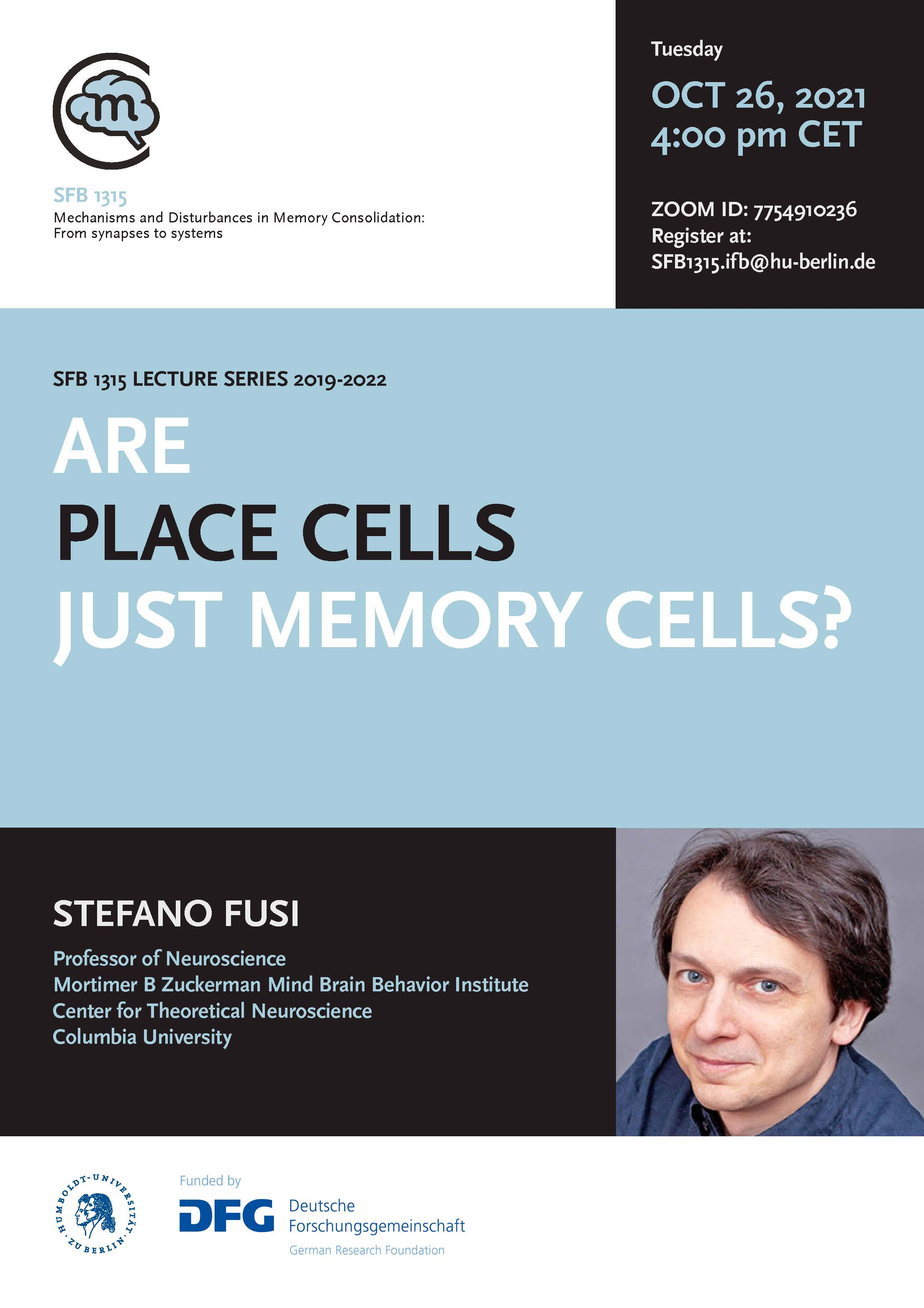 CRC 1315 Lecture: Are place cells just memory cells? @ Zoom ID: 7754910236